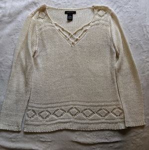 Cream open-weave sweater